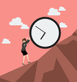 Business woman pushing huge clock uphill vector image vector image