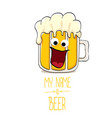 cartoon funky beer glass character with vector image vector image