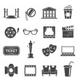cinema items black glyph icons set vector image