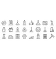 cleaner equipment icons set outline style vector image vector image