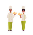 cooks couple professional chefs holding covered vector image vector image