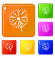 dandelion plant icons set color vector image vector image