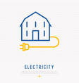 electricity concept house with plug line icon vector image vector image