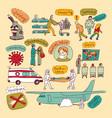epidemic pandemic doodles virus scene people set vector image vector image