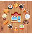 Fast Food Products On Wooden Background vector image vector image