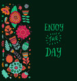 floral card design leaf doodle elements vector image