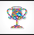 Group of male and female icons make a winning cup vector image vector image