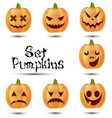 halloween set pumpkins emotions icon design cute vector image