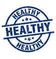 healthy blue round grunge stamp vector image vector image