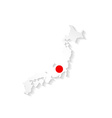 japan flag map with shadow effect presentation vector image vector image