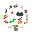 japan isometric 3d icons vector image vector image