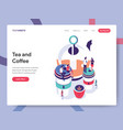 landing page template tea and coffee concept vector image vector image