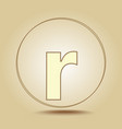 letter r lowercase round golden icon on light vector image