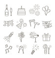 line web icons of party celebration birthday and vector image