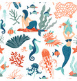 magic seamless pattern underwater animals vector image vector image