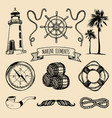 marine set hand sketched sea vector image