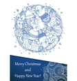 Merry Christmas holiday circle composition vector image vector image