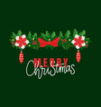 merry christmas lettering decorative fir-tree vector image