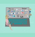 mother buying in the internet shop vector image vector image