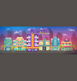 old miami skyline panorama at sunset retro city vector image
