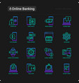 online banking thin line icons set vector image vector image