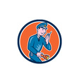 Policeman Torch Radio Circle Cartoon vector image vector image