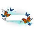 rectangular banner with butterflies monarchs vector image vector image