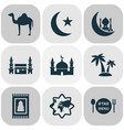 religion icons set with camel palms mecca and vector image vector image