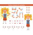 schoolgirl parts of body template vector image