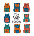 set eight colorful hand drawn backpacks with vector image vector image