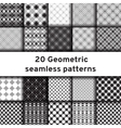 Set of 20 monochrome seamless patterns vector image vector image