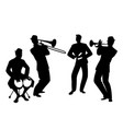silhouettes of latin band four latin musicians vector image