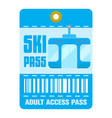 ski pass template flat style vector image