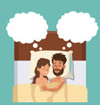 sleeping couple in bed embracing dreaming vector image vector image