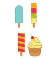sweet cool ice cream set vector image vector image