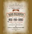 vintage big party invitation poster vector image vector image