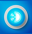 white hot and cold symbol sun and snowflake icon vector image vector image