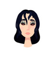 young girl with big brown eyes and black hair vector image vector image