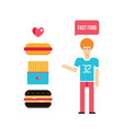 young man and fast food icons set vector image