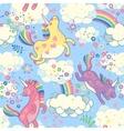 Cute seamless pattern with rainbow unicorns vector image