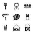 Creativity art icons set simple style vector image