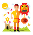 asian man with chinese dragon flat style vector image
