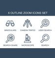 6 zoom icons vector image vector image