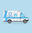 ambulance car side view with blue strips vector image vector image