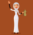 arab woman holding an coffee pot and waving hand vector image vector image