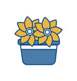 beautiful flowers in a pot icon vector image vector image