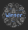 black winter concept on black chalkboard vector image vector image