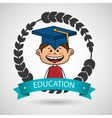boy student graduation icon vector image vector image