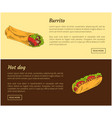 burrito and hot dog food set vector image vector image