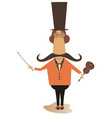 cartoon long mustache violinist vector image vector image